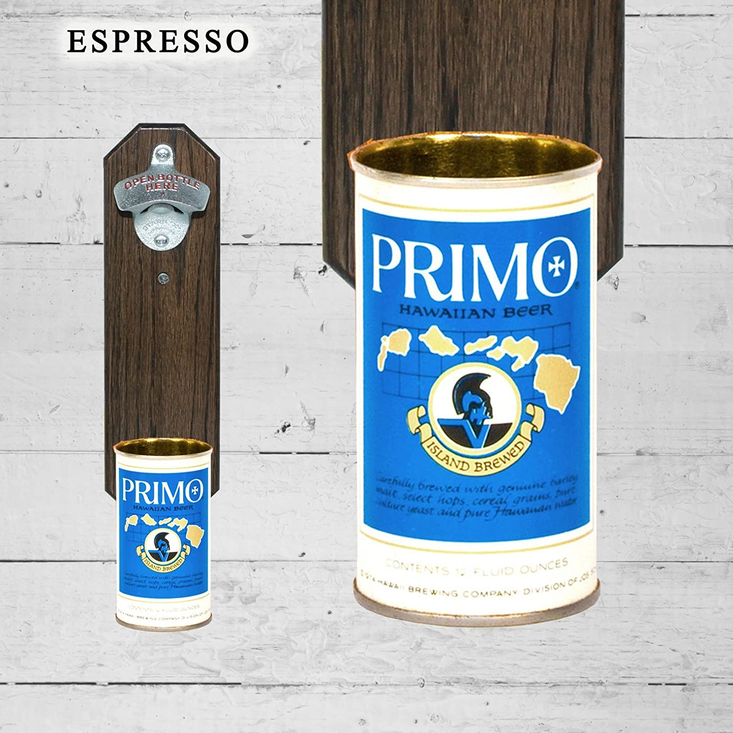 Wall Mounted Bottle Opener with Vintage Primo Hawaii Beer Can Cap Catcher