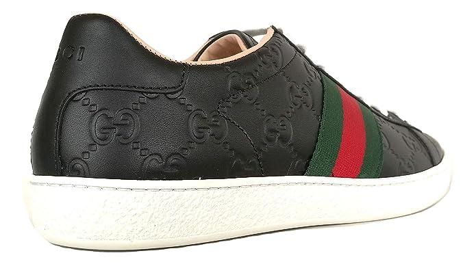 4fc1d73dea52d2 Gucci Scarpe Donna Sneaker Ace con Stampa GG in Pelle 387993 CWCG0 1070 Nero  (37.5 EU)  Amazon.it  Scarpe e borse