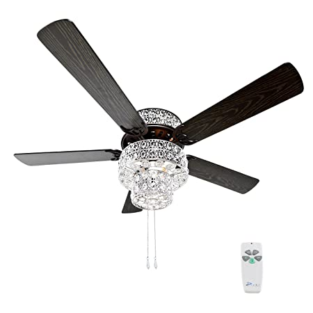 River of Goods 16554S Silver Punched Metal and Clear Crystal Ceiling Fan