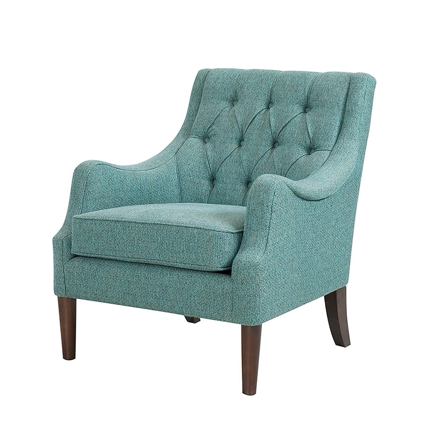 Madison Park FPF18-0512 Qwen Accent Chairs - Birch, Hardwood, Faux Linen Armchair, Modern Classic Style, Diamond Tufted Living Room Sofa Furniture, Bedside Lounger, Teal