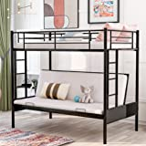 Twin Over Futon Bunk Beds Easy Conversion to Twin Over Full Bunk Beds, Twin Full Metal Futon Bunk Sofa Bed, No Box Spring Nee