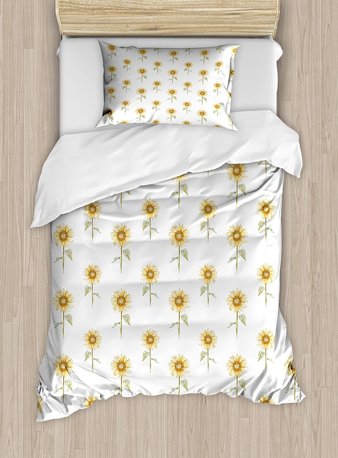 Lunarable Sunflower Duvet Cover Set, Hand Drawn Floral Pattern Watercolor Effect Nature Illustration, Decorative 2 Piece Bedding Set with 1 Pillow Sham, Twin Size, Green Ginger