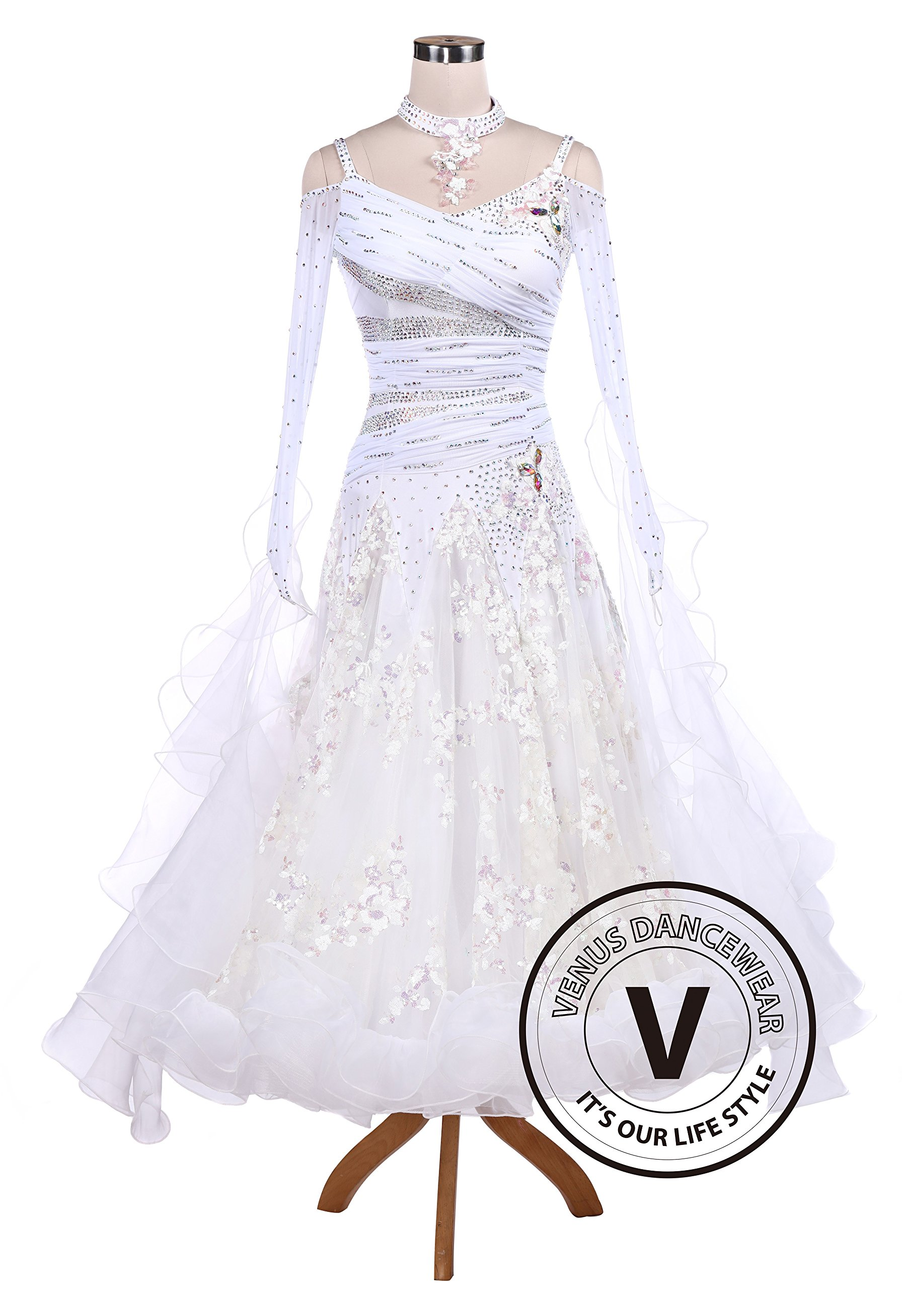 White Sequin Embroidered Ballroom Competition Dance Dress by Venus Dancewear (Image #1)