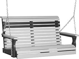 product image for Furniture Barn USA Outdoor 4 Foot Rollback Swing - Dove Gray and Black Poly Lumber - Recycled Plastic