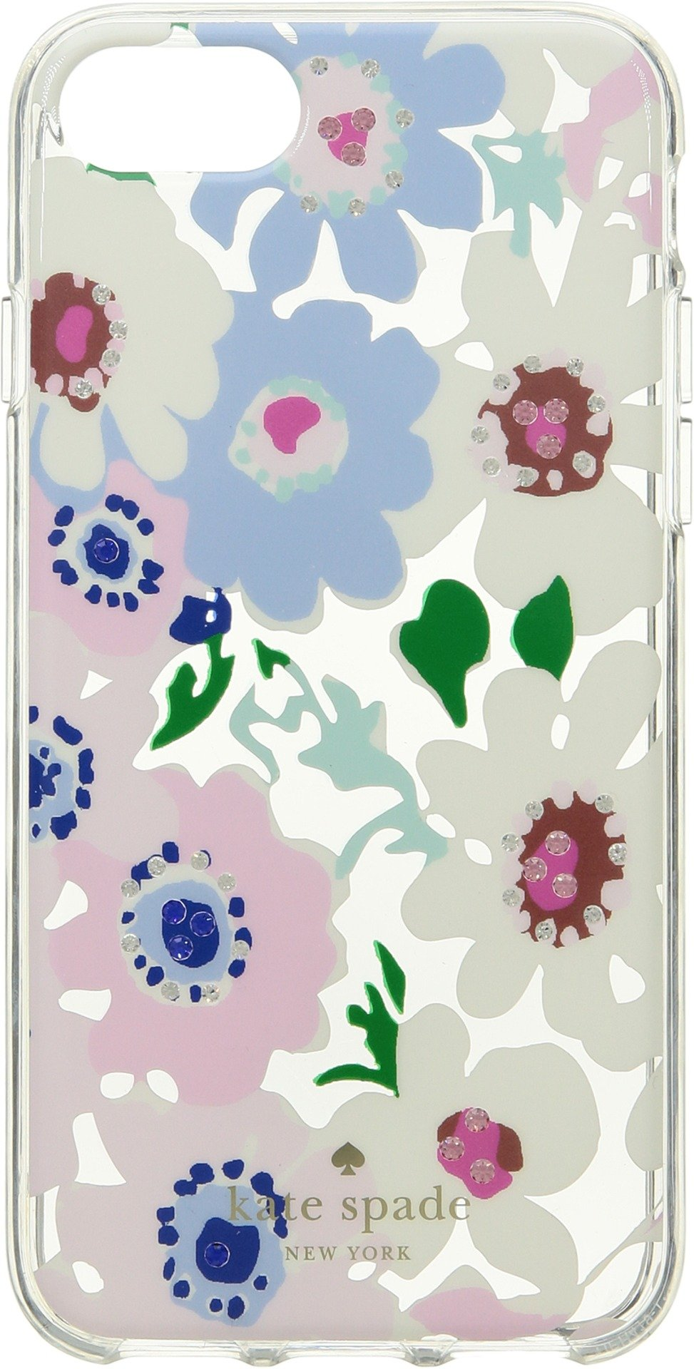 Kate Spade New York Women's Jeweled Daisy Garden Clear Phone Case for iPhone 8 Clear Multi One Size
