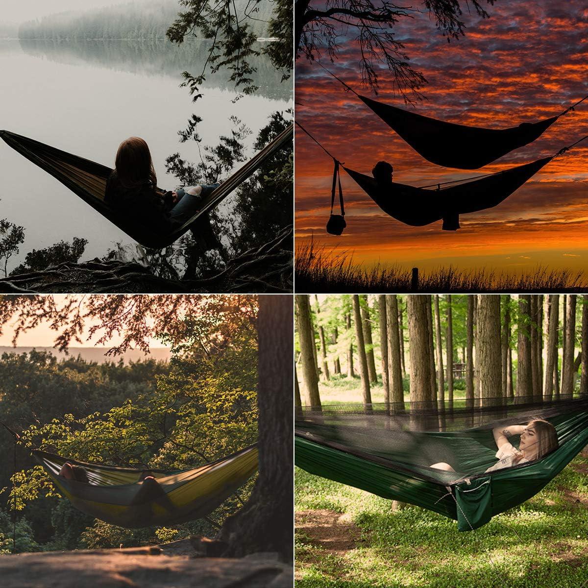 DTNO.I Camping H/ängematte mit Moskitonetz Ultraleichte Tragbare Doppel- und Einzelfallschirm Reiseh/ängematte mit Baumgurten f/ür Outdoor Rucksacktouren Wandern Garten /& Strand Camping