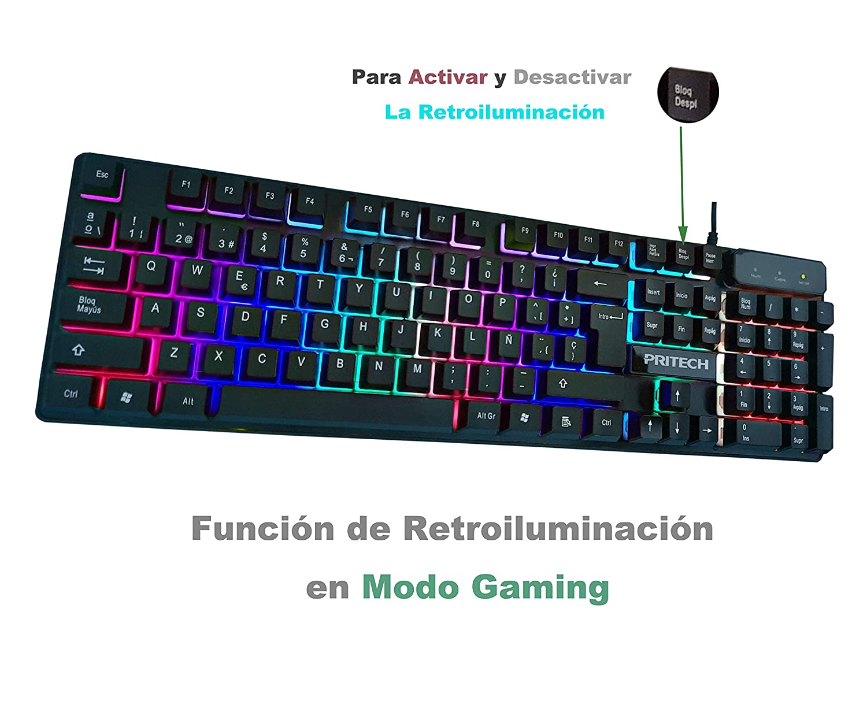 PRITECH - Teclado Gaming Retroiluminado en Español con Cable 1,45 Metros con Tacto Mecánico y Alta sensibilidad para Gamers y Oficina (Negro). ...