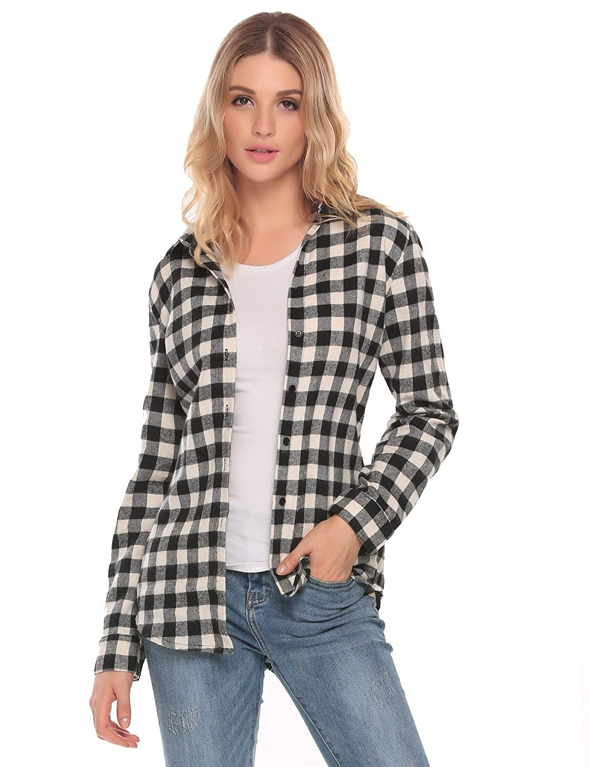 3dcbbdba The Plaid Flannel Shirt Features: Turn-Down Collar, Long Sleeve, Plaid  Pattern, Button Down Shirt.Wrinkle-Resistant, Button up ...