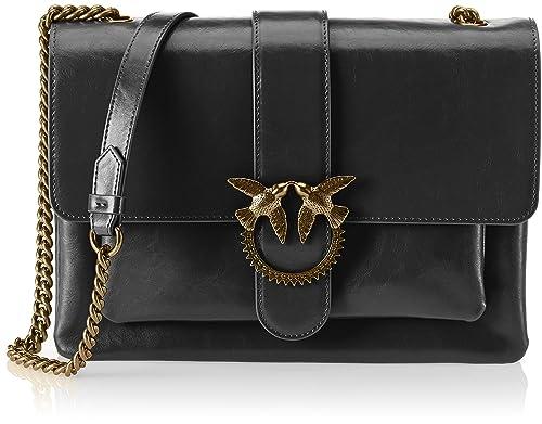 3746dafba9 Pinko Big Love Vintage Vitello Vintage, Women's Shoulder Bag, Black ...