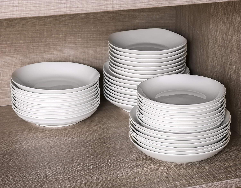 TGLBT Pasta Bowls,7 Inch Porcelain Salad Plates Set,Microwave And Dishwasher Safe,Shallow And White,Sets Of 6