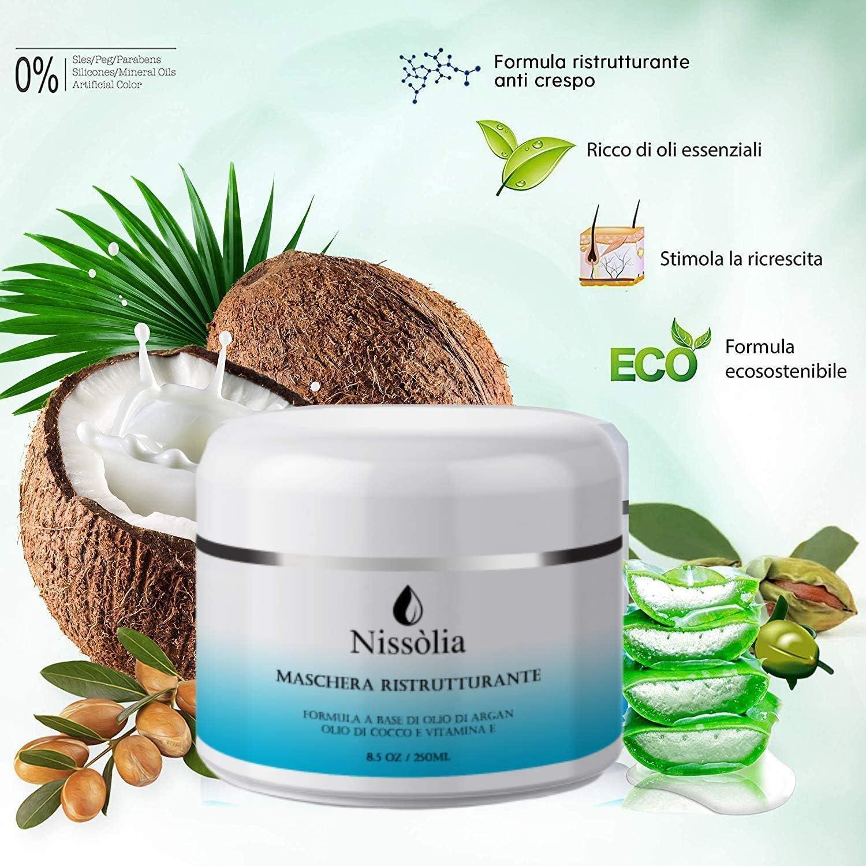 Mascarilla capilar - Rizos - Frizzy - Dañada - Reestructuración - Orgánica con aceite de coco y argán - Vitamina E (400ml): Amazon.es: Belleza