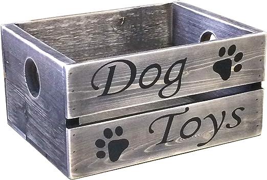 Caja de juguetes para perro, diseño vintage de pino gris: Amazon ...