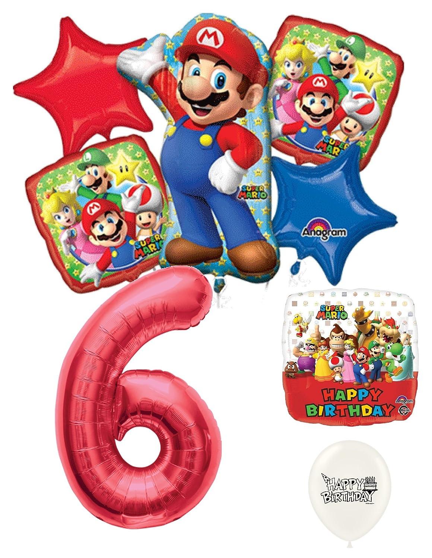 6th誕生日レッド数Mario Brothersパーティーデコレーションバルーンブーケby Ballooney 's   B07BCW6L8B