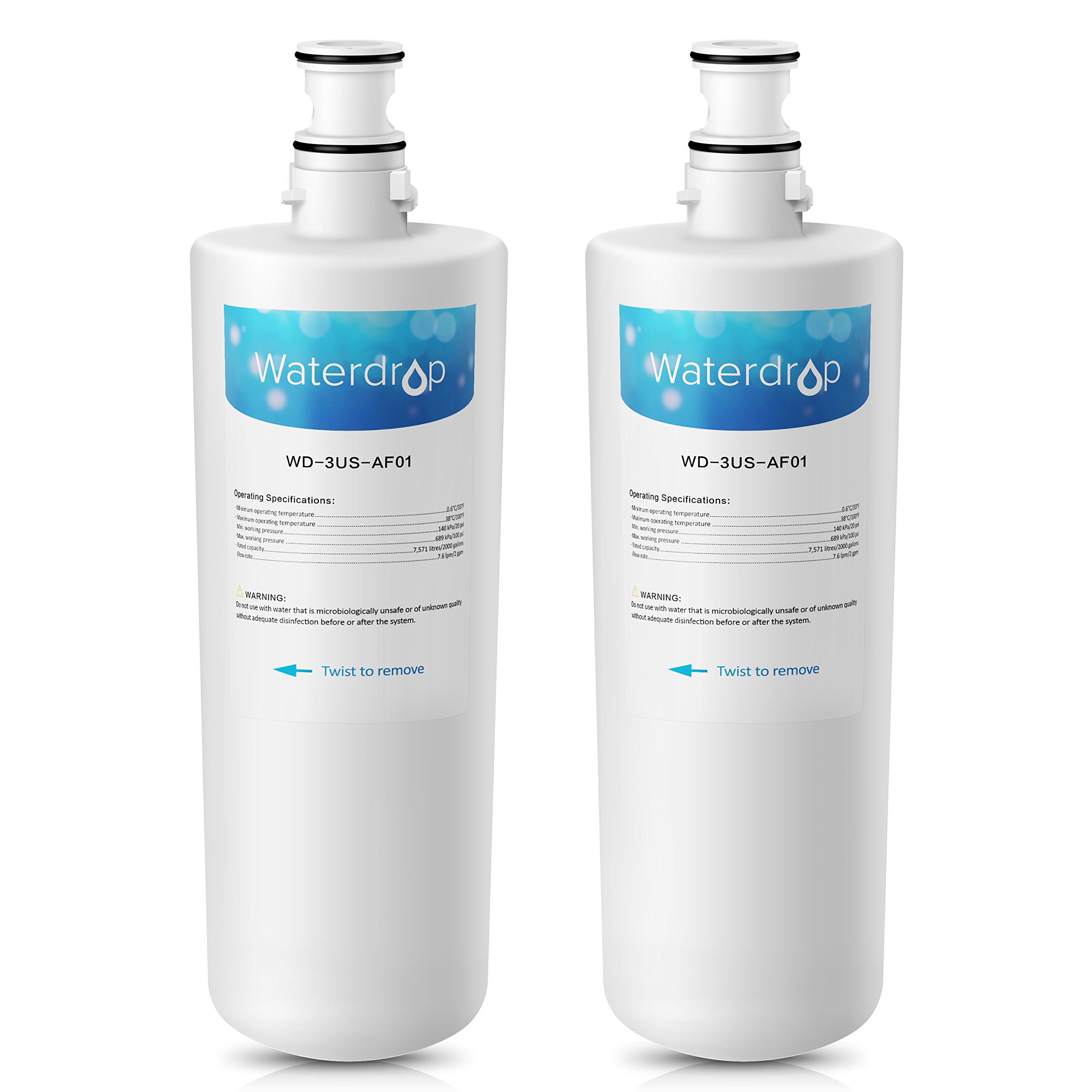 Waterdrop 3US-AF01 Replacement Undersink Water Filter, Compatible with Standard Filtrete 3US-AF01, 3US-AS01, Whirlpool WHCF-SRC, WHCF-SUFC, WHCF-SUF (2 Pack)