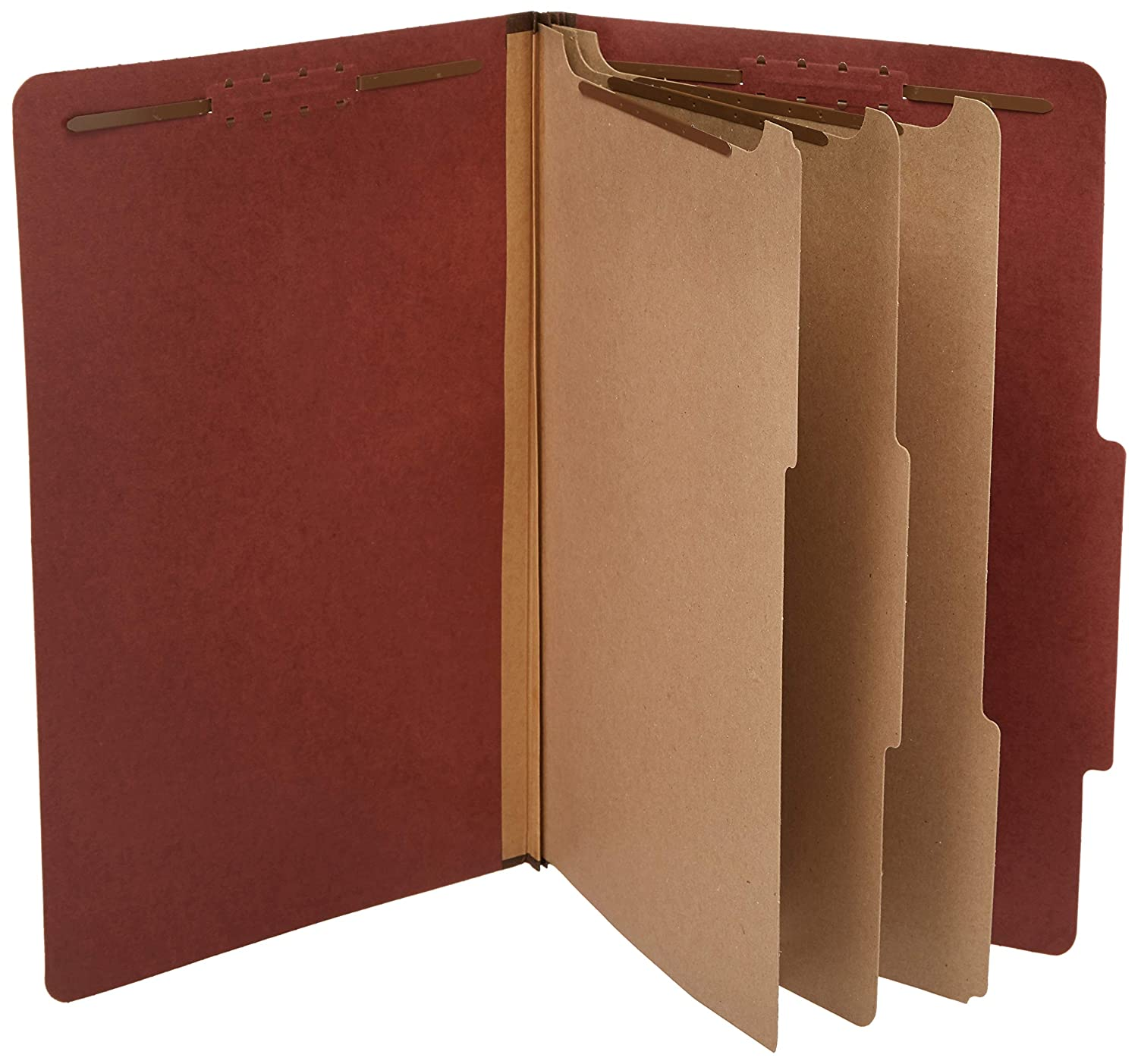 """AmazonBasics Pressboard Classification File Folder with Fasteners, 3 Divider, 3.5"""" Expansion, Legal Size, Red (10 Pack)"""