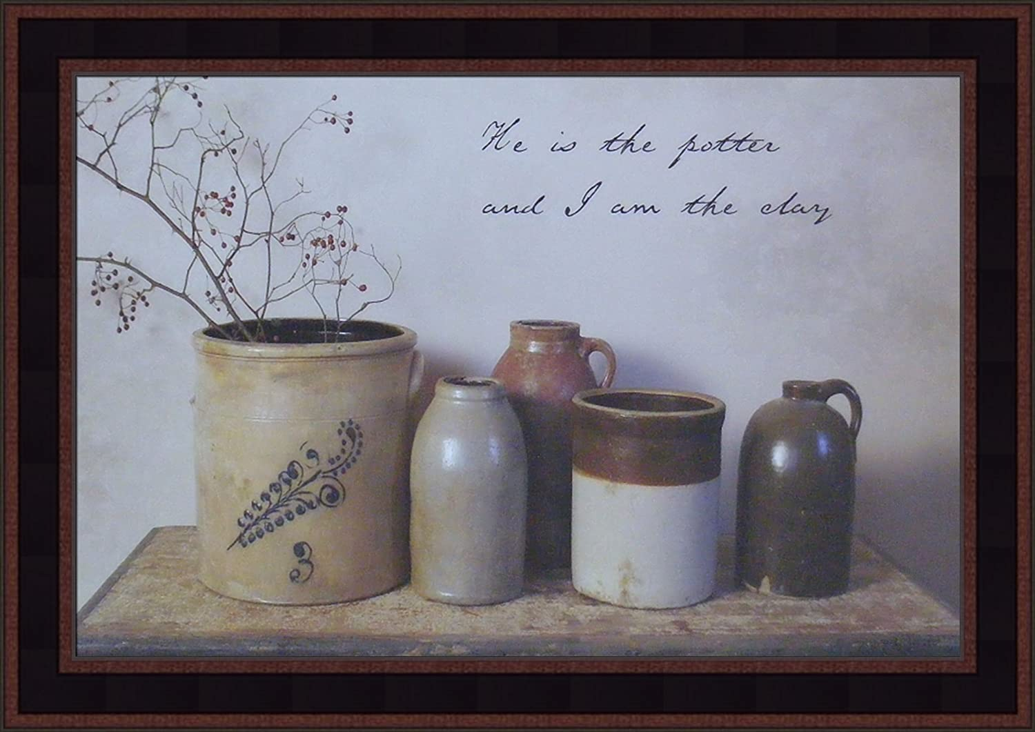 Home Cabin Décor He is The Potter by Billy Jacobs 15x21 I Am The Clay Crocks Country Primitive Folk Art Photography Framed Picture