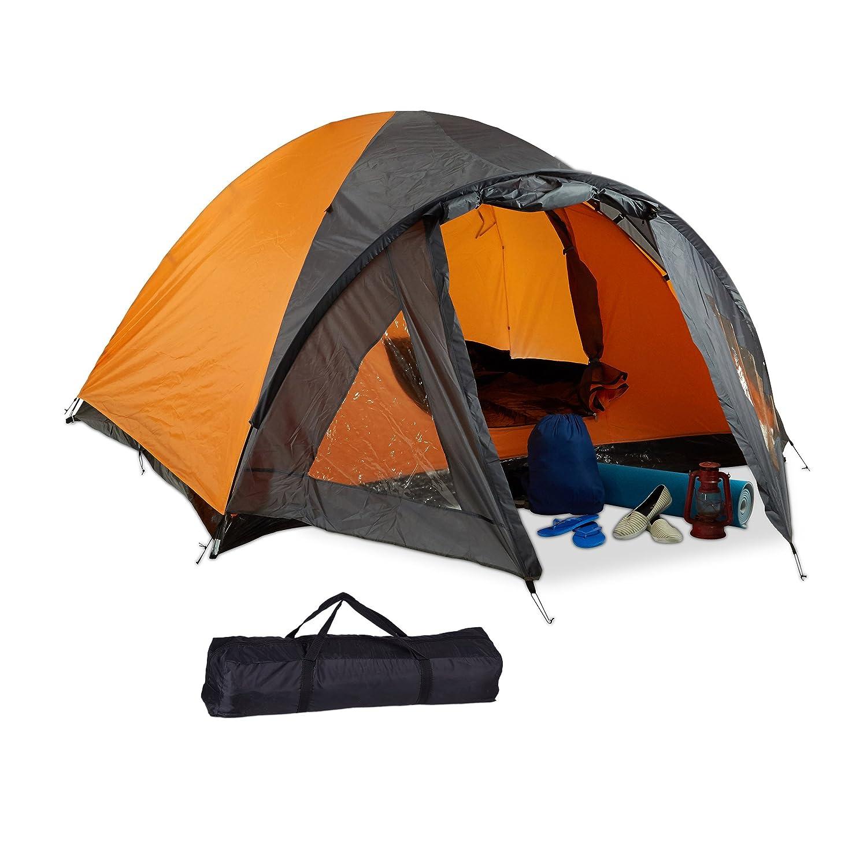 Relaxdays Campingzelt, für 3-4 mit Personen, mit 3-4 Vorzelt, wasserabweisend, UV 30+, HxBxT: 130 x 210 x 240 cm, schwarz-Orange 999fdf