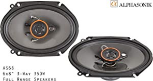 Alphasonik AS68 6x8 inch 350 Watts Max 3-Way Car Audio Full Range Coaxial Speakers with Universal Mounting Holes for Easy Installation and Grills Included