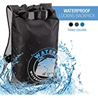 WaterSeals Locking Backpack + Waterproof Bag for Women & Men with Ripstop Material & Anti-Theft Combination Lock to Protect Wallet, iPhone or Valuables at the Beach, Pool, Skiing, or Camping