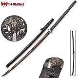 "Shinwa Colossus Yoru Handmade Odachi/Giant Samurai Sword - Exclusive, Hand Forged Black Damascus Steel; Genuine Ray Skin; Dragon Tsuba - Functional, Full Tang, Battle Ready - 60"""