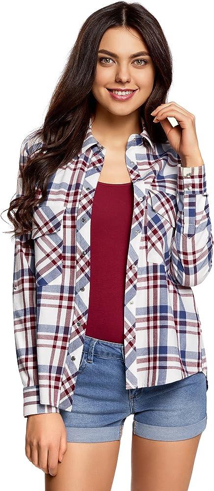 oodji Ultra Mujer Camisa de Algodón con Bolsillos en el Pecho, Multicolor, ES 34 / XXS: Amazon.es: Ropa y accesorios