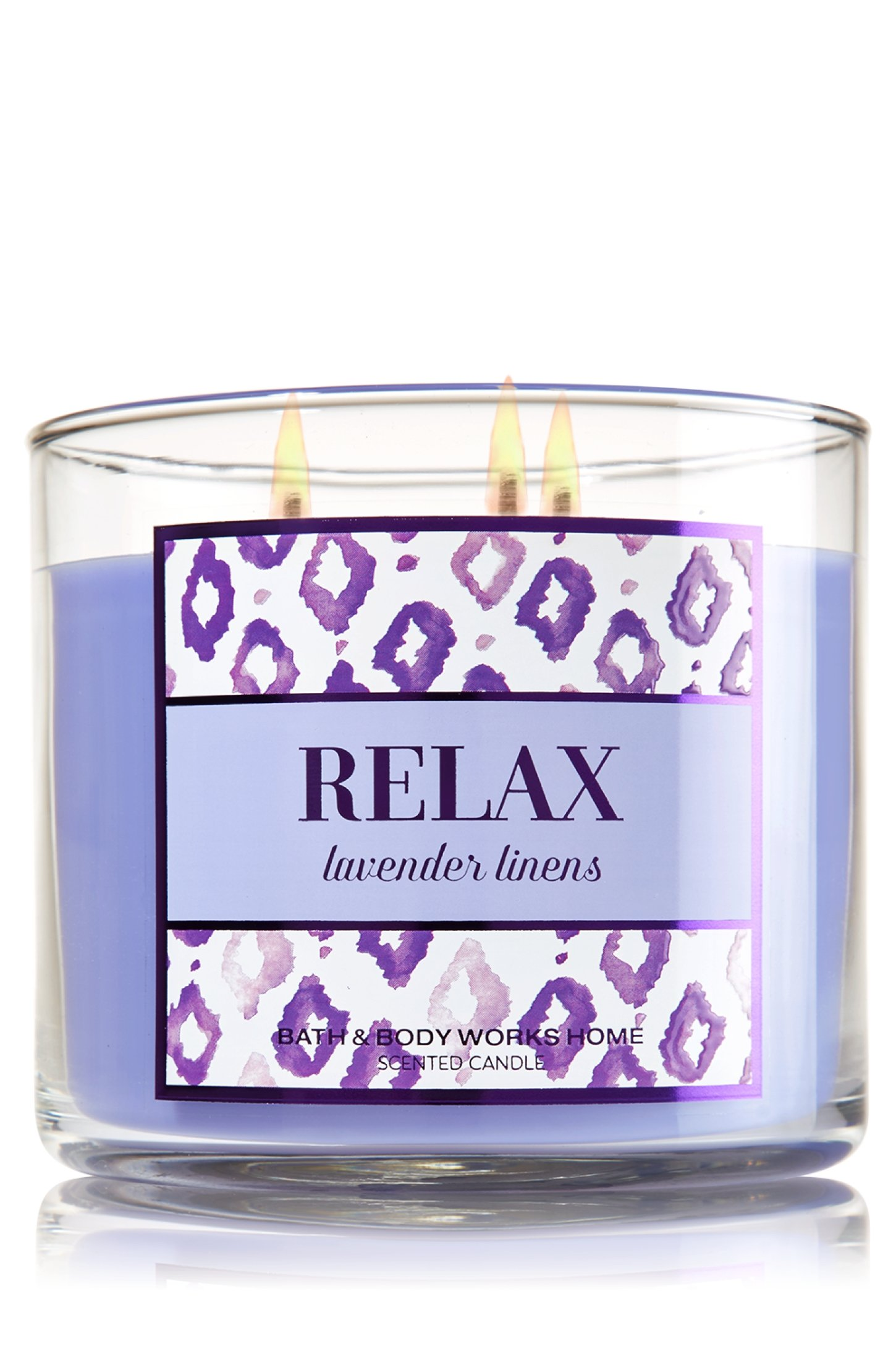 Bath & Body Works 3 Wick Candle 14.5 Oz Relax - Lavender Linens