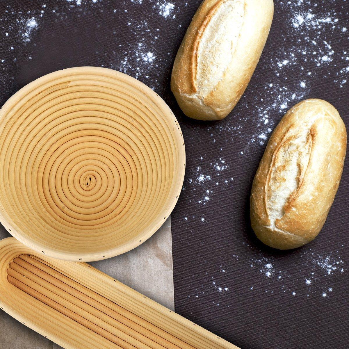 obeauty blanco ratán Sourdough Banneton Brotform Pan Cesta de pruebas masa con libre gamuza de tejido lino: Amazon.es: Hogar