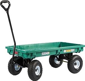 Farm Tuff 03548 Plastic Deck Wagon, 20-Inch by 38-Inch, Green
