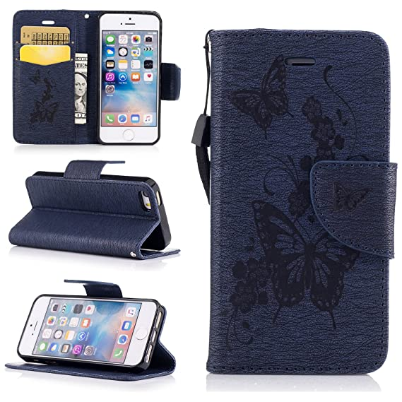 on sale ab41b f8359 Amazon.com: NEXCURIO iPhone 5S 5 SE Wallet Case with Card Holder ...