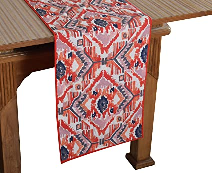 Bilberry Furnishing By Preeti Grover 100% Cotton Multicolor Printed Table Runner (TR_15) - (Table Runner Size 14