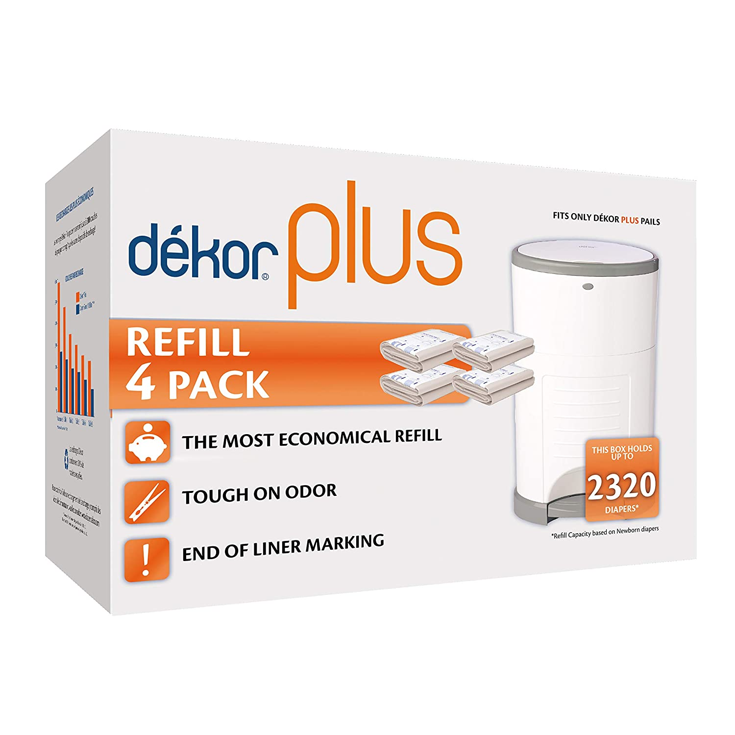 Dekor Plus Diaper Pail Refills | 4 Count | Most Economical Refill System | Quick & Easy to Replace | No Preset Bag Size – Use Only What You Need | Exclusive End-of-Liner Marking | Baby Powder Scent