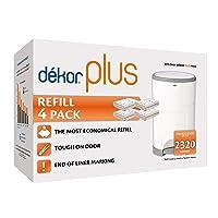 Dekor Plus Diaper Pail Refills   4 Count   Most Economical Refill System   Quick...