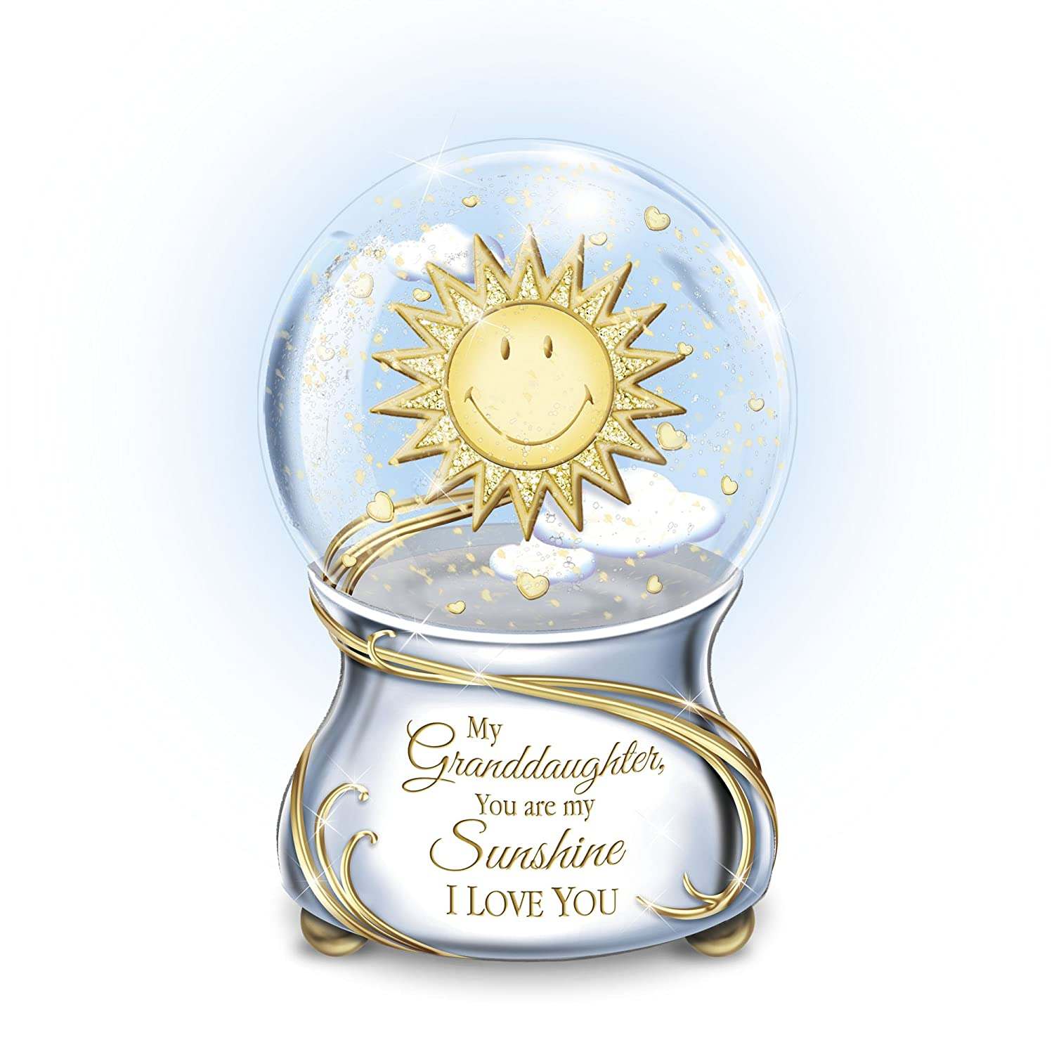 'My Granddaughter, You Are My Sunshine' Musical Glitter Globe – Granddaughter-inspired musical glitter globe features smiling sun, swirling glitter, loving message. Exclusive to The Bradford Exchange! 'My Granddaughter