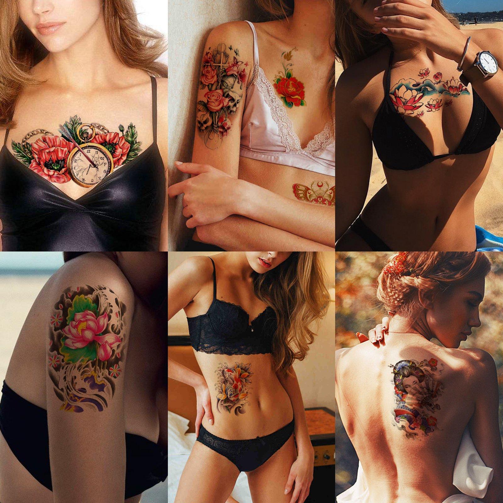 Kotbs 6 Sheets Waterproof Temporary Tattoo Sticker Flower Skull Lotus Pattern Tattoos Body Art Makeup Fake Tattoo for Women Men