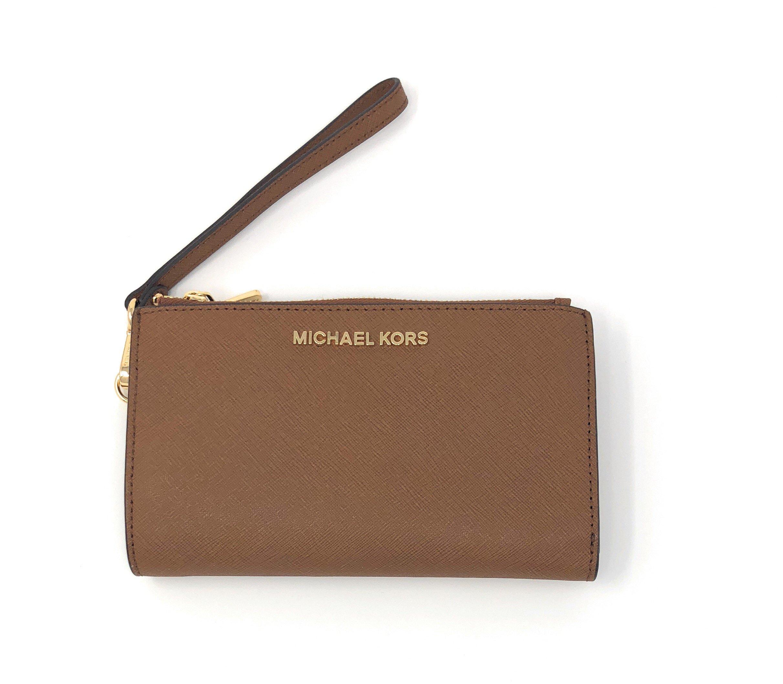 Michael Kors Jet Set Travel double Zip Wristlet (Luggage Saffiano)