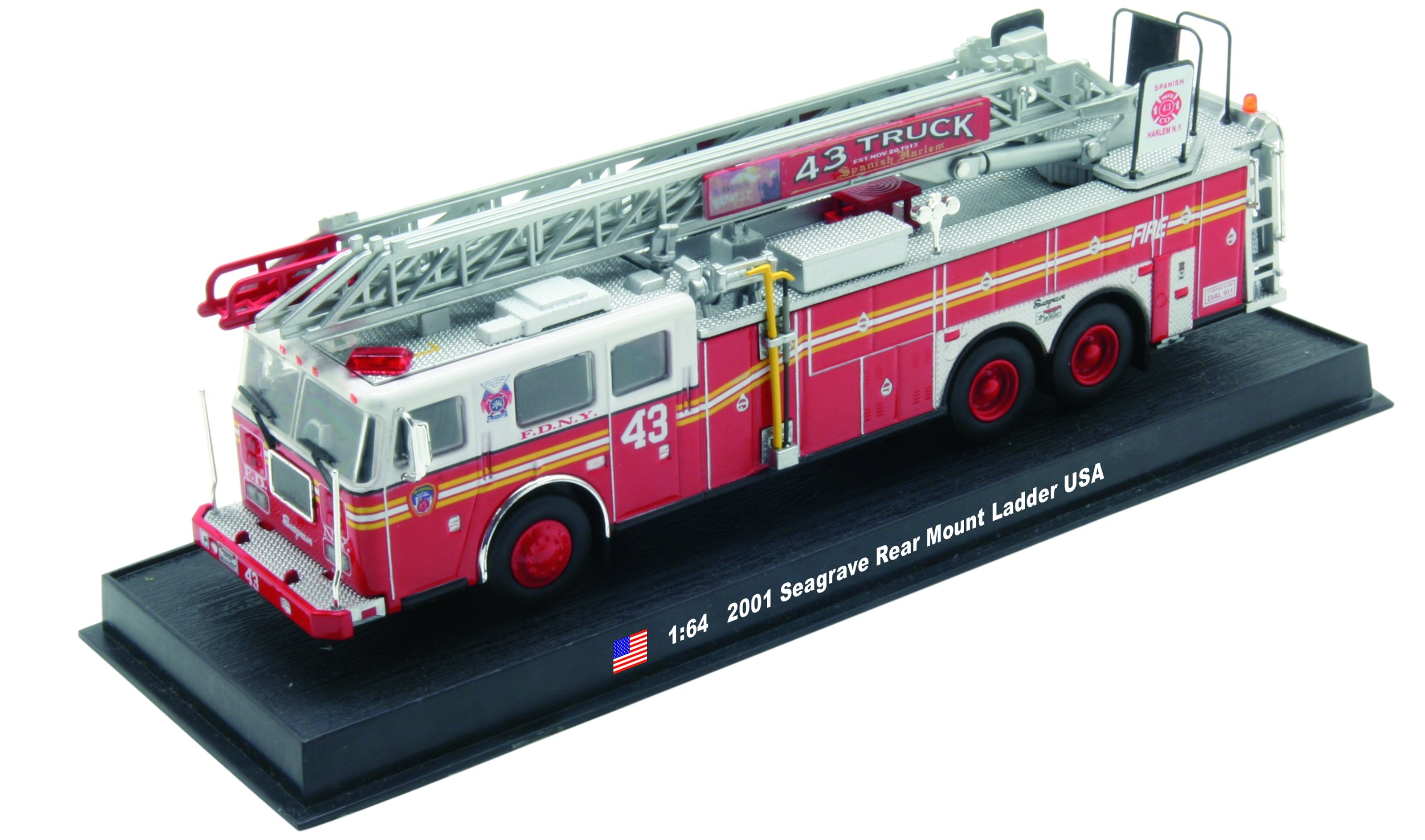 Seagrave Rear Mount Ladder Fire Truck Diecast 1:64 Model Amercom ...