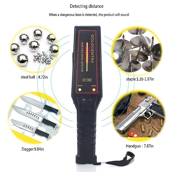 teepao Control de seguridad detector de metales de mano, portátil Super escáner herramienta con 16 luces LED variación para aeropuerto, Puerto Abierto, ...