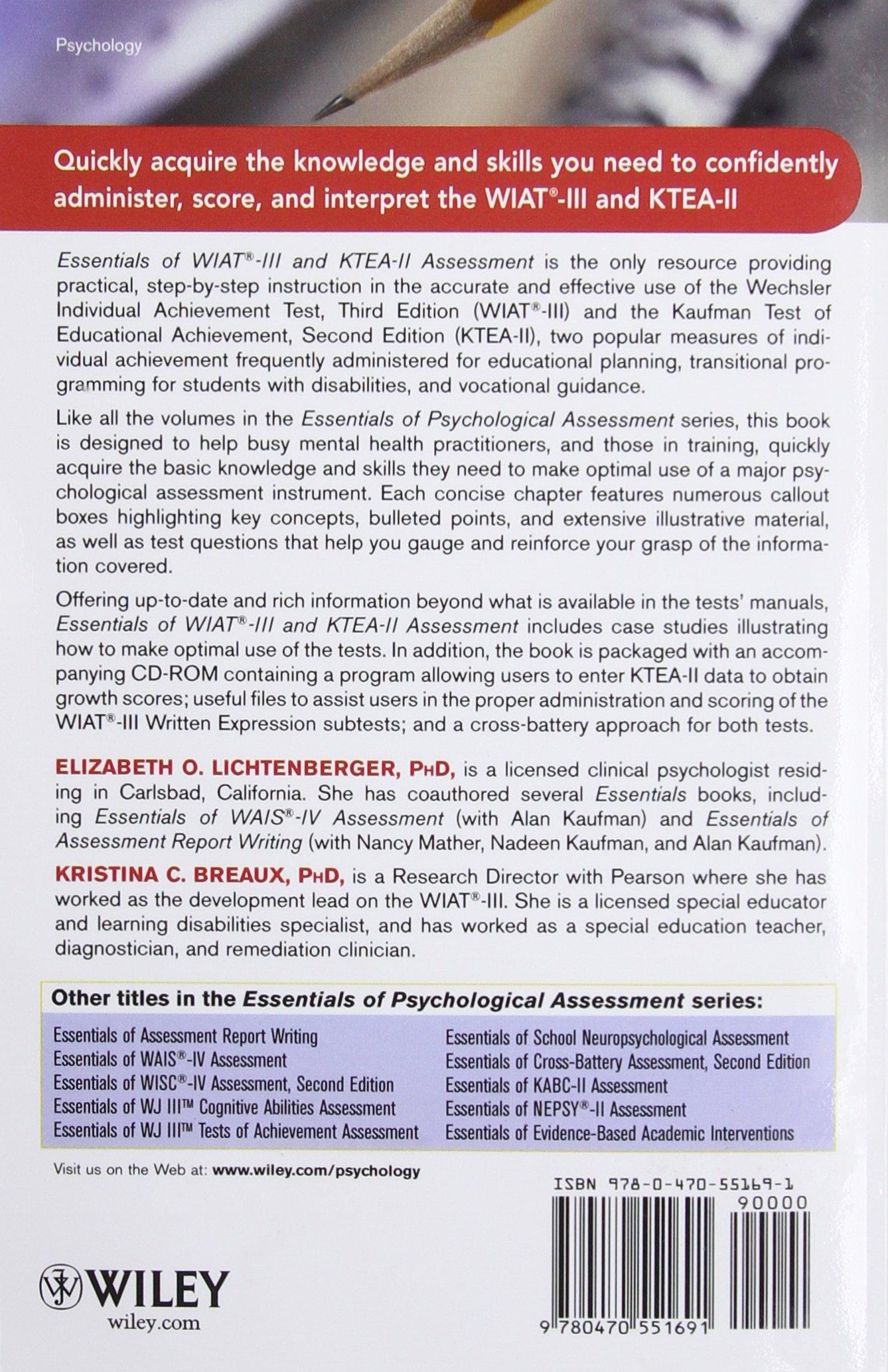 Essentials of WIAT-III and KTEA-II Assessment: Elizabeth O ...