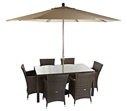 Amazon.com: Leisuregrow Madrid 6 Seater Rectangular Rattan ...