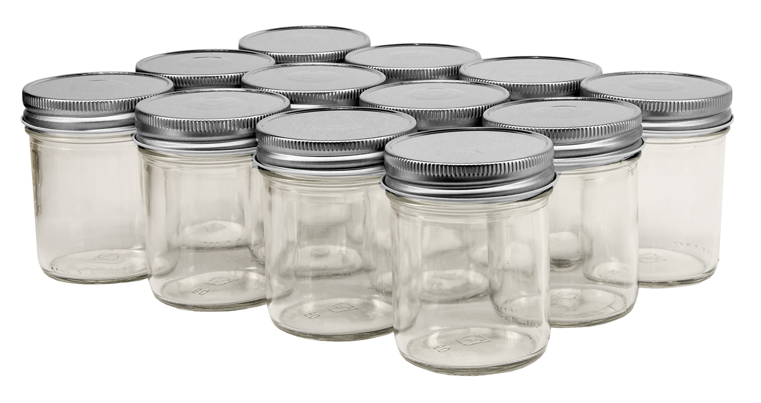 North Mountain Supply 8 Ounce Glass Straight Sided Regular Mouth Mason Canning Jars - With Silver Safety Button Lids - Case of 12