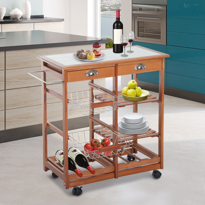 HOMCOM 30'' Wooden Rolling Kitchen Organizer Cart Tile Countertop With Basket Storage Wine Rack by HOMCOM (Image #2)