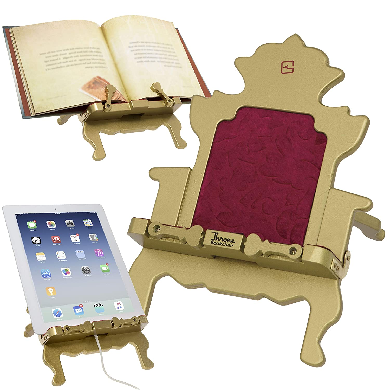 iPad Reading Rest & Book Holder. Adjustable Stand for Tablet, eReader or Cookbook. Great Christmas or Birthday Gift for Home, Bedroom or Office - Gold Thinking Gifts