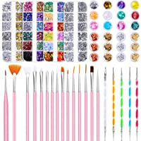 Rhinestones for Nails, Selizo Nail Art Kit Include 8420pcs Nail Rhinestones Gems Crystals, Nail Brushes, 24 Pots Nail…