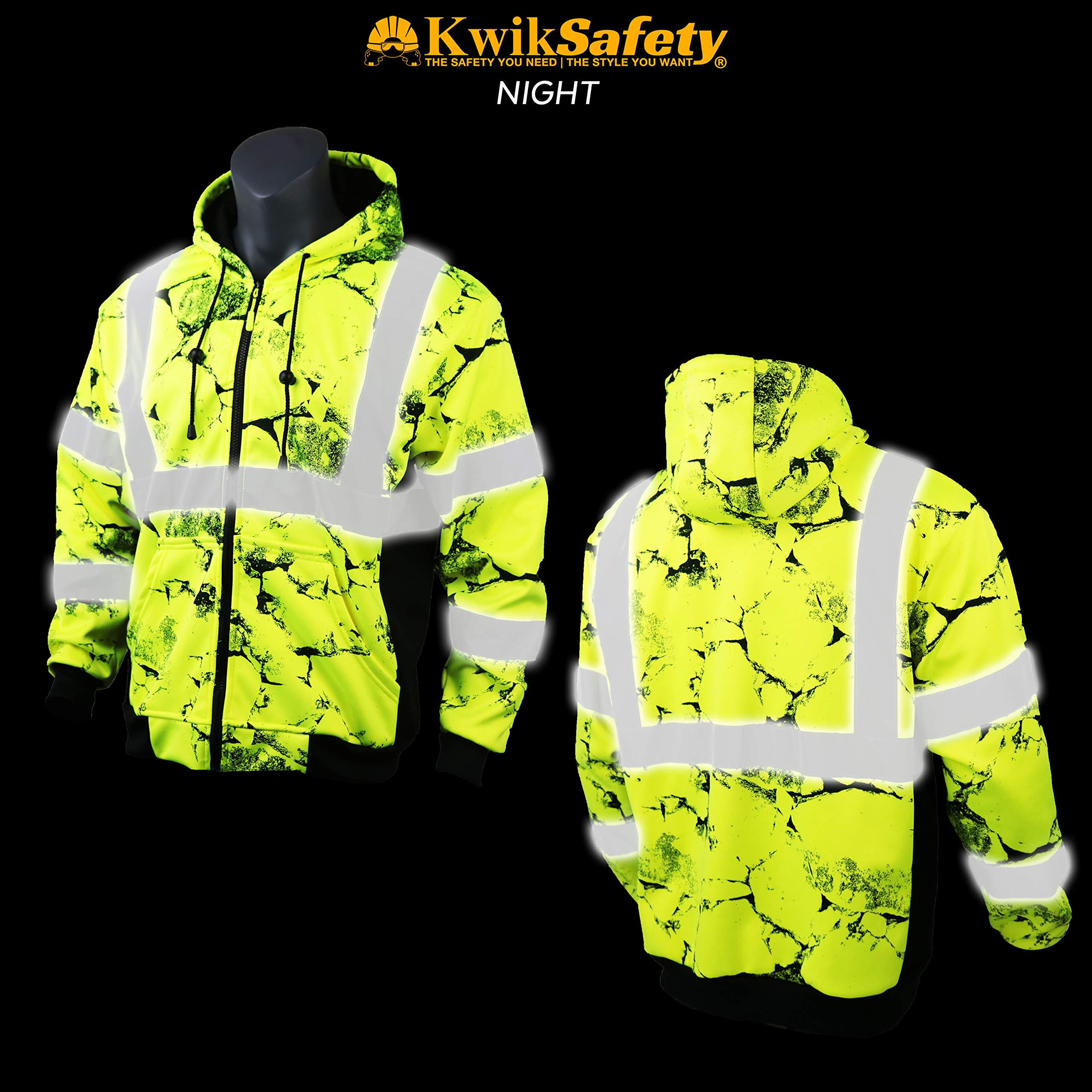KwikSafety UNCLE WILLY'S WALL High Visibilty Reflective Anti Pill ANSI Class 3 Safety Jacket with Hoodie, Yellow, X-Large by KwikSafety (Image #4)
