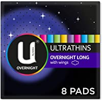 U by Kotex Ultrathin Overnight Long Pads with Wings, Pack of 8