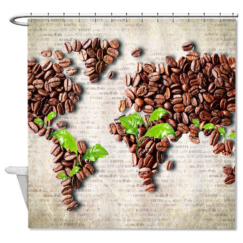 Amazon Neafts Polyester Coffee Bean World Map Shower Curtain