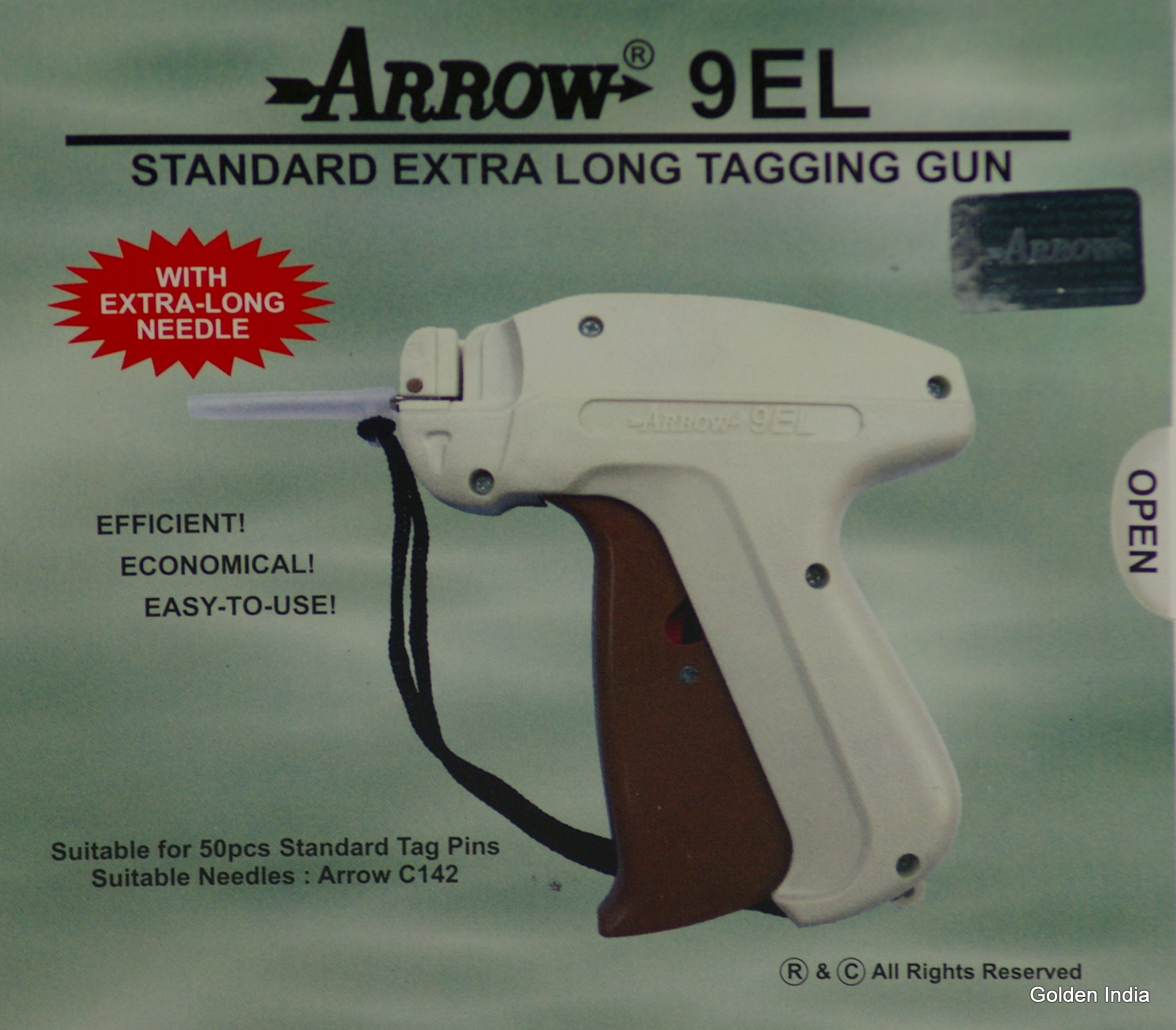 Arrow Standard 9EL EXTRA LONG NECK Tag Gun +1000 White Barbs ( Fasteners ) Combo 50, 75mm ( 500 EACH ) Price Label Clothing Tagging Attacher with High Quality Steel Needle