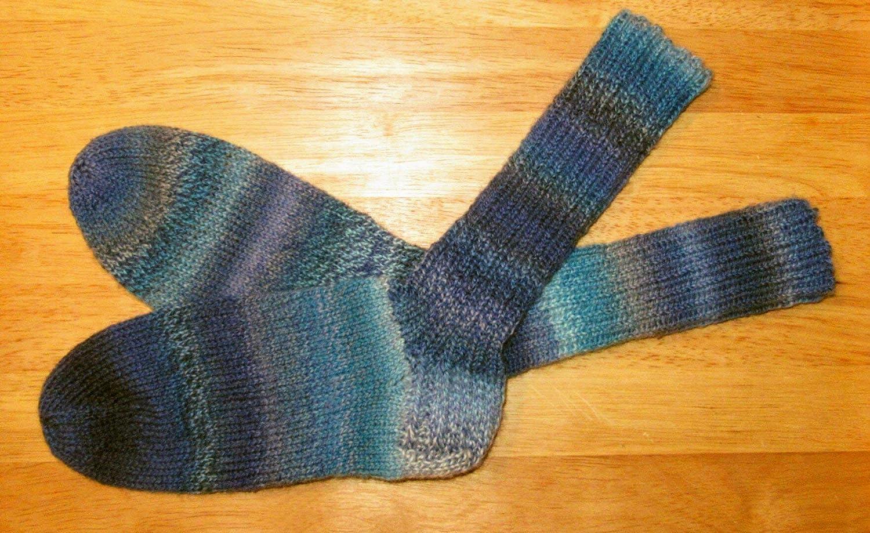Tejido a mano/tejido de punto/calcetines/de lana/4 capas/hilo/mujer/hombre/niño/calcetines/calcetines/medias/Schoppel/Edition3/Blauschimmer/Gr. ...
