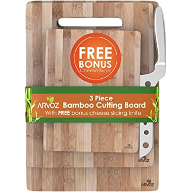 3 Piece Bamboo Cutting Board Set Made From Premium Wood - Thick Germ Resistant Anti-microbial Chopping Board Block - Serving Tray - Bonus Cheese Knife Included - Large Medium & Small Boards - Brown