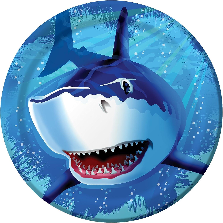 8-Count Round Paper Dinner Plates, Shark Splash